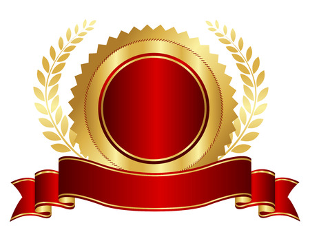 Elegant red and golden seal / stamp with red ribbon and gold laurel graphic isolated on white