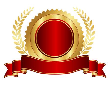 Légant rouge et or sceau / cachet avec un ruban rouge et graphique de laurier d'or isolé sur blanc Banque d'images - 38551234