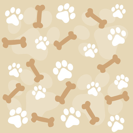Animal paw prints seamless background with brown and white paw prints and dog bones