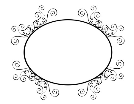 specially: Black and white ornamental oval border  frame specially for wedding  party invitation cards