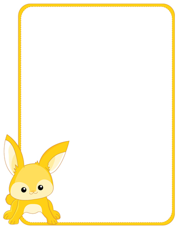 cute rabbit: Illustration of a cute little bunny  rabbit  border  frame. Printable Easter bunny border for invitations & greeting card.