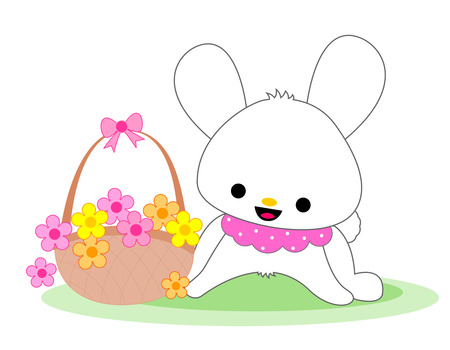flower basket: Cute white bunny with colorful flower basket illustration isolated on white background Illustration