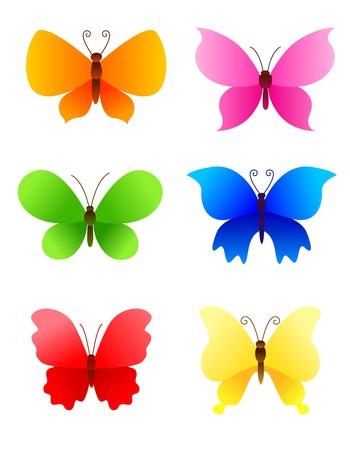 caricatura mosca: Lindas mariposas coloridos iconos de recogida  logotipo de las obras creativas .. pueden ser el uso de tarjetas de felicitación de vacaciones  invitaciones de la fiesta, etc .. Vectores