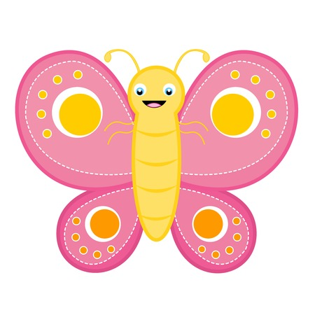 butterfly isolated: Cute happy smiling butterfly clip art isolated on white background