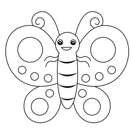 책 페이지를 색칠 미리 학교 아이들을위한 귀여운 설명 나비 인쇄 그래픽