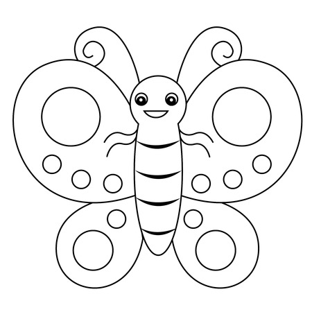 printable coloring pages: Cute outlined butterfly printable graphic for pre school kids coloring book pages