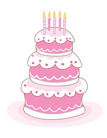 layer cake: Colorful layered birthday cake with candles illustration isolated on white background