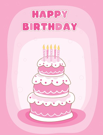 specially: Colorful birthday greeting card with a birthday cake with candles Illustration