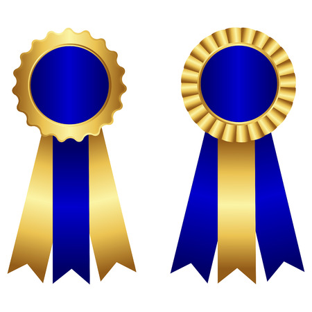 award ribbon rosette: Award ribbon rosette  stamp with ribbon in blue and gold isolated on white