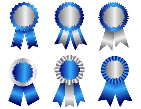 Collection of different shaped blank award ribbon rosettes in blue and silver  isolated on white.