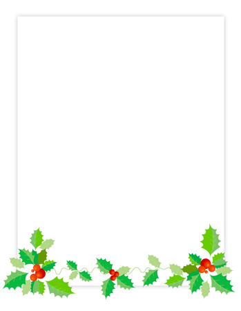 red berries: Holly with red berries on page footer christmas greeting  border design