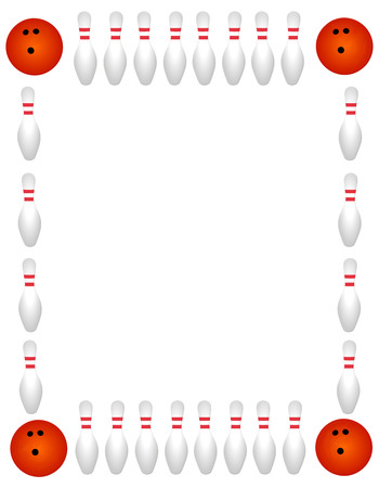 Bowling pins with ball border on white background