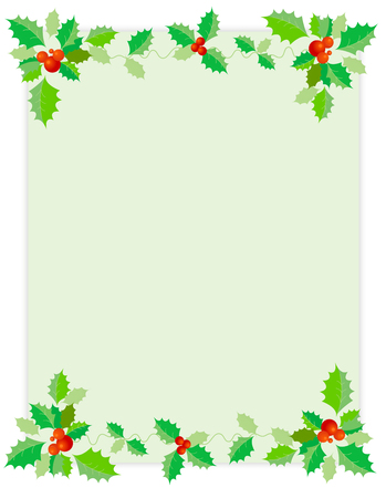 red berries: Holly leaves and red berries Christmasholiday backgroundborder with light green empty background. Illustration
