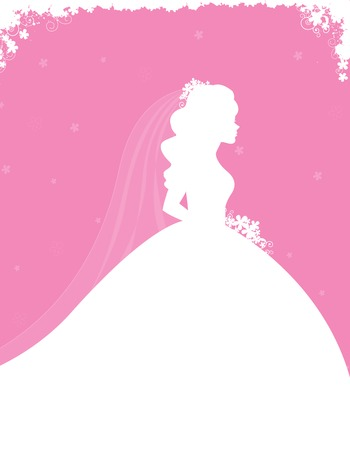 wedding dress silhouette: Bridal shower  wedding invitation card background with a beautiful bride with flowers on soft pink floral background
