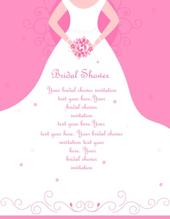 Bridal shower / wedding invitation card background with a beautiful bride with flowers on soft pink floral background Vectores