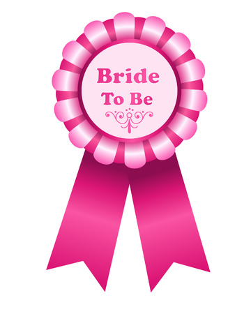 award ribbon rosette: Bride to be cute pink award ribbon rosette isolated on white Illustration