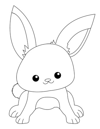 specially: Cute rabbit line art isolated on white background. Specially for kids coloring book graphics. Illustration