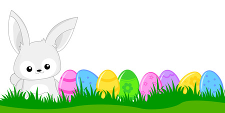 Cute white easter bunny with colorful easter eggs on green grass web Header  banner. Vector