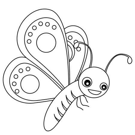 colorless: Cute outlined butterfly printable graphic for pre school kids coloring book pages