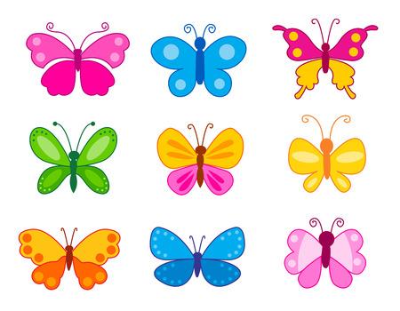 Reeks kleurrijke die vlinders op witte achtergrond wordt geïsoleerd.