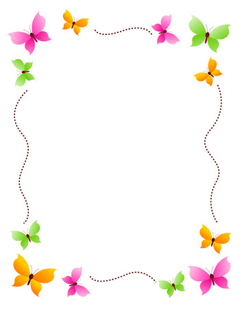 Butterfly frame with colorful butterflies on four corners Ilustração