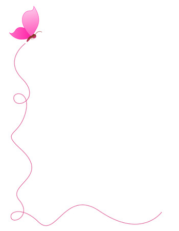 Butterfly side border / frame with a cute pink butterfly Illustration