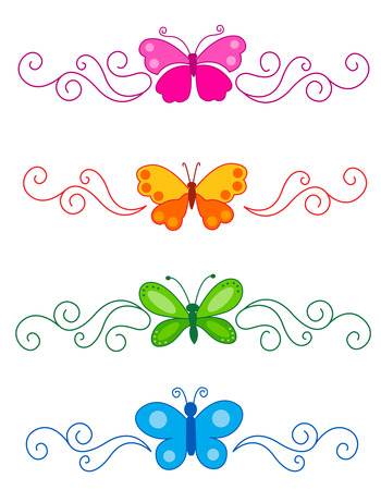summer border: Collection of beautiful page dividers with colorful butterflies Illustration