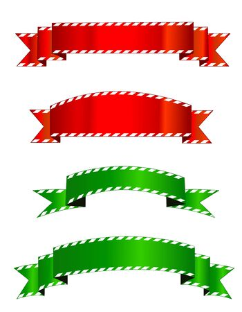 x mas parties: Set of different shape red and green christmas banners. candy cane christmas banners