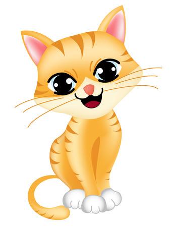 Leuke kleine kat / kitten op een witte achtergrond illustratie / clipart
