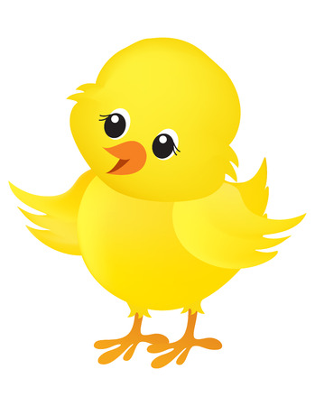 Illustration of a cute little yellow easter chick isolated on white background Ilustração
