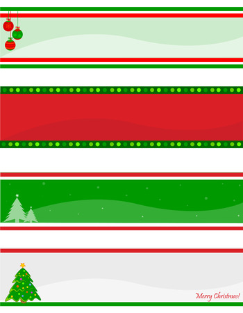 green banner: Elegant christmas web header  banner collection with decorative christmas tree and ornaments