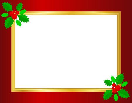bordering: Frontera de la Navidad  fondo con hojas de acebo, bayas y cintas de oro en las esquinas