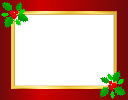 Christmas border background with holly leaves , berries and golden ribbons on corners