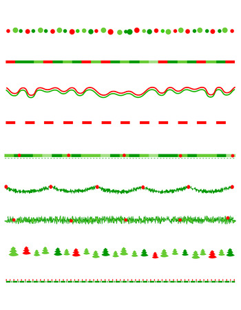 Collection on christmas borders / divider graphics including holly border, candy cane pattern, christmas trees and more Vectores