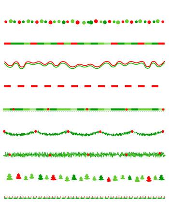 lineas decorativas: Colección de Fronteras de la Navidad  gráficos divisor incluyendo acebo frontera, patrón del bastón de caramelo, árboles de navidad y más