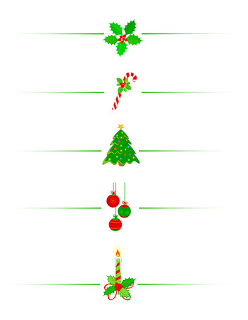 Clean Holly leaves and berries, candy cane christmas tree and x mas candle holiday border divider
