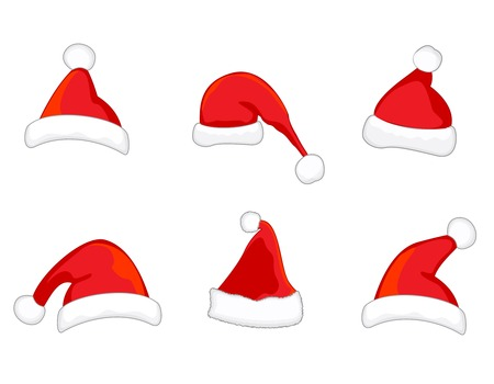 x mas background: Different shaped bright red sant aclaus hats collection isolated on white background