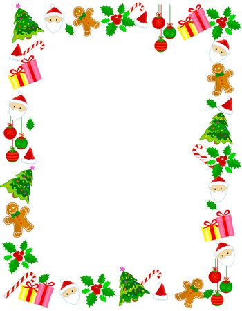 arboles frutales: Colorido marco de la Navidad  frontera con diversos clip art Vectores