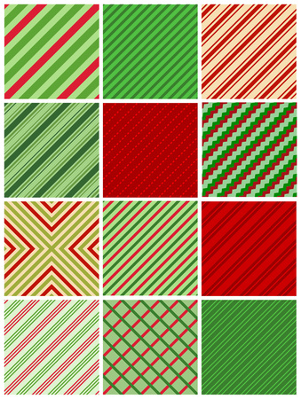 candy stripe: Red and green stripes christmas seamless pattern collection Illustration