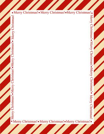 dulces: Marco rayado retro con las rayas rojas con letras feliz navidad. Frontera de la Navidad del bastón de caramelo