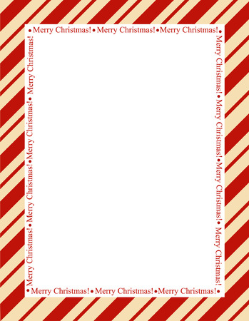 Retro striped frame with red  stripes with merry christmas letters. christmas candy cane border
