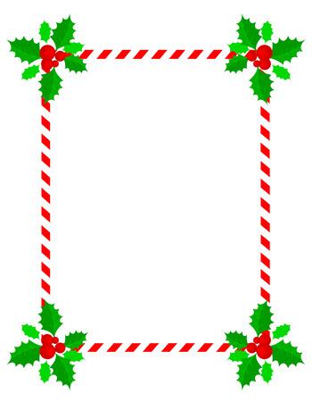 Retro gestreept frame met rode en witte strepen  snoepgoed en hulst en bessen