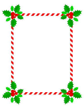 candy cane background: Retro striped frame with red and white stripes  candy cane  and holly and berries