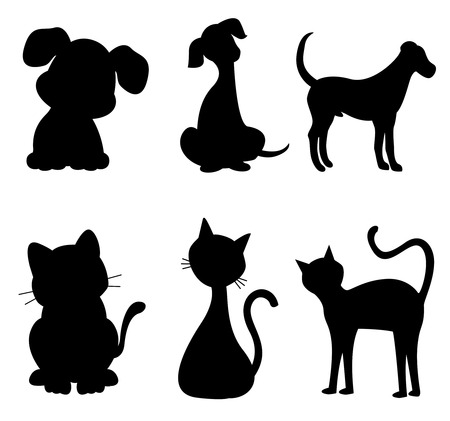 puppy and kitten: Cats and dogs silhouette black specially for pet clinic logos