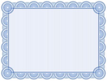 blue and green: Blank certificate frame isolated on white Illustration