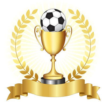 Soccer campionship gold trophy with golden banner and laurel on glowing background Vectores