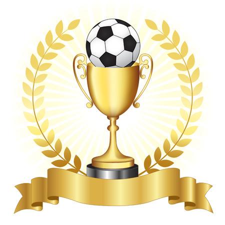 Voetbal Campionship gouden trofee met gouden banner en laurier op gloeiende achtergrond Stockfoto - 38550119