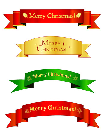 splendid: Set of different shape golden , red and green christmas banners.