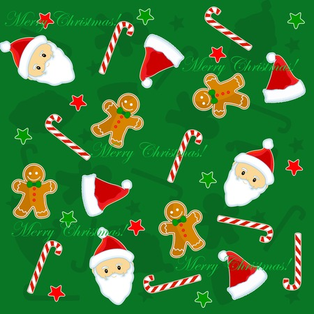 christmas wrapping: Christmas seamless pattern with santa claus face, candy cane, stars, and gingerbread on green background