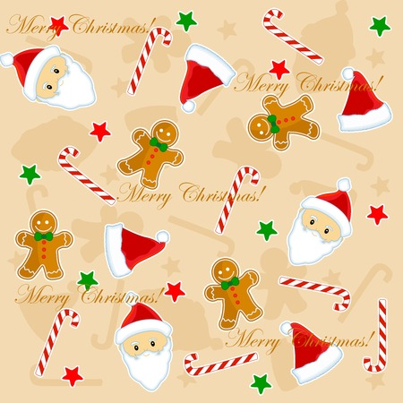 santa claus face: Christmas seamless pattern with santa claus face, candy cane, stars, and gingerbread on brown background